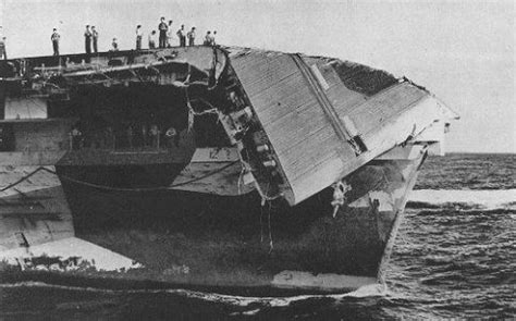 USS Hornet hit by rogue wave
