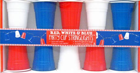 Red, White & Blue Party Cup Electric String Lights