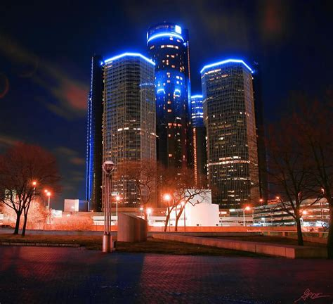 The Gm Renaissance Center At Night From Hart Plaza Detroit