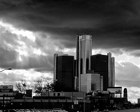 Detroit Photography Stormy GM Building Black and White